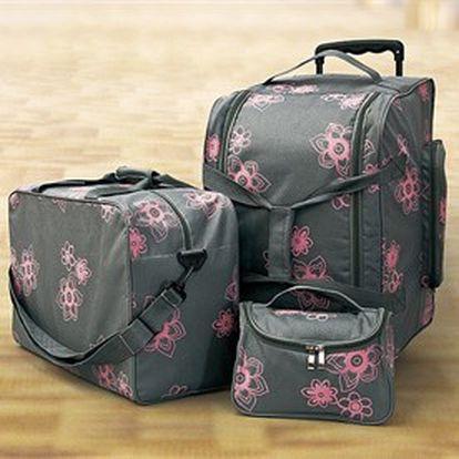 Velká sada stylových cestovních tašek na kolečkách + kosmetická taška