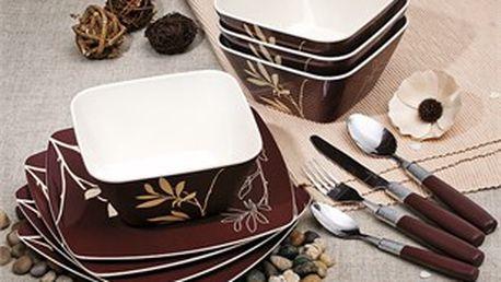 Velká melaminová sada obsahující čtyři talíře a čtyři misky