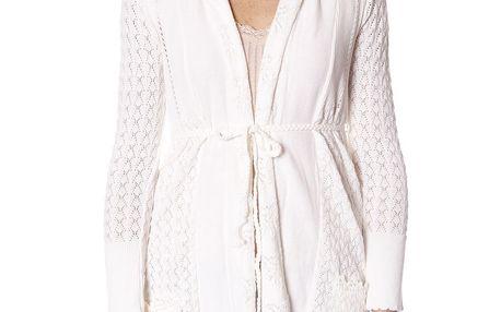 Nádherný jemný pletený svetřík s pleteným pásečkem v pase chalk 052