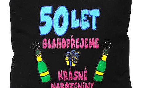 """Polštář 30x30 Funny thinks 50 let """"Blahopřejeme…, černý"""