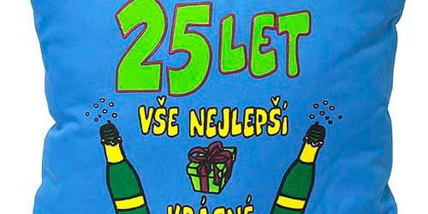 """Polštář 30x30 Funny thinks 25 let """"Vše nejlepší…, modrý"""