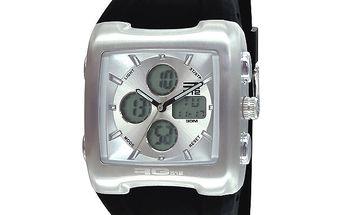 Stříbrné hodinky s černým řemínkem RG512