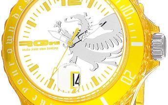 Žluté analogové hodinky s drakem RG512
