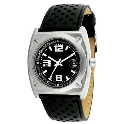Ocelové hodinky stříbrné barvy s černým perforovaným řemínkem RG512