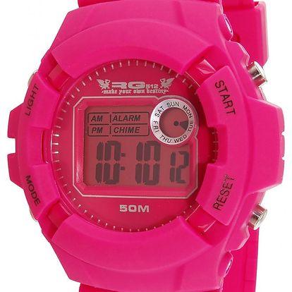 Růžové kulaté digitální hodinky RG512
