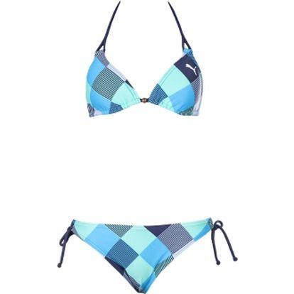 Dámské plavky v pěkném designu - puma jam check triangle bikini raspberry modrozelená