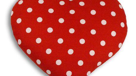 Nahřívací polštářek Srdce 22 cm, puntíkovaný - a láskou budete přímo hořet