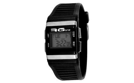 Černé digitální hodinky se stříbrnými detaily RG512