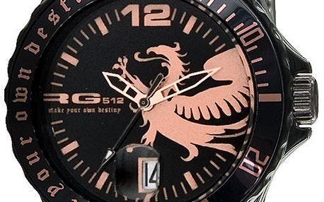 Černé analogové hodinky s drakem RG512