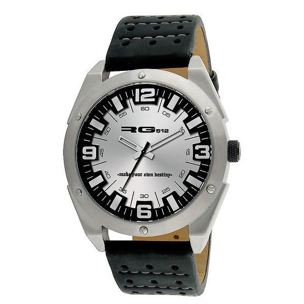 Stříbrné analogové hodinky s ocelovým pouzdrem RG512