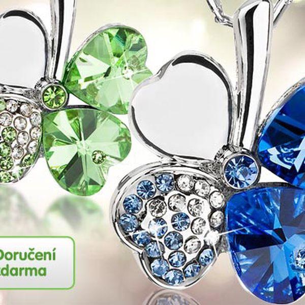 Řetízek a přívěsek s krystaly – 4 barvy