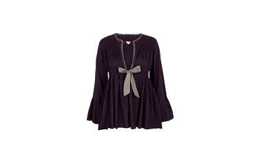 Elegantní tunika Aubergine bow