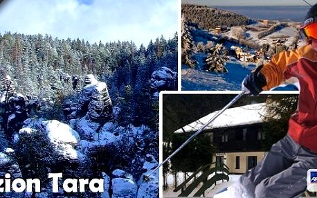 Adršpach - ideální rodinná dovolená se zázemím pro děti přímo u vstupu do jedinečného komplexu pískovcových skalních měst !!! Pobyt pro 2 osoby na 3 nebo 7 dní v penzionu Tara s polopenzí, skipasem, teplé nápoje neomezeně!