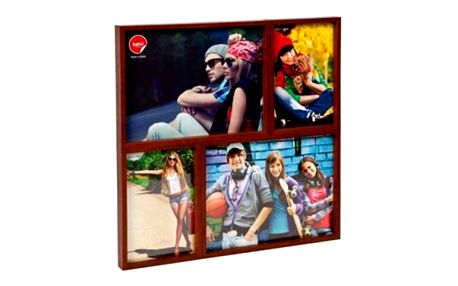 Dřevěný rámeček na čtyři fotky 2x10x15 cm + 2x15x20 cm