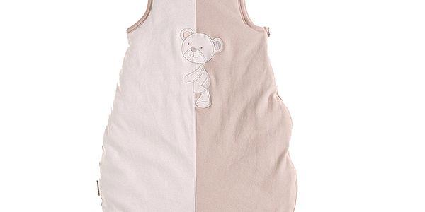 Běžovo-bílý spací fusak s medvídkem