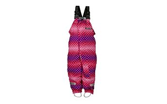 Fialovo-červené puntíkaté lyžařské kalhoty