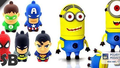 Populární filmové či komiksové postavičky jako usb flash disk s kapacitou 8gb - např. Spiderman, Batman a Mimoni