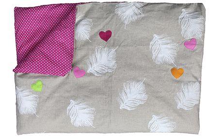 Tenká růžová přikrývka / povlečení pro starší děti, 120x150 cm