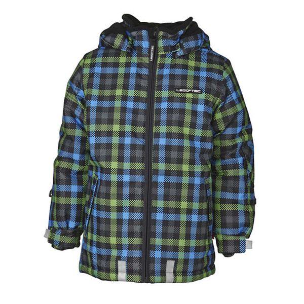 Kostkovaná zeleno-modrá zimní bunda
