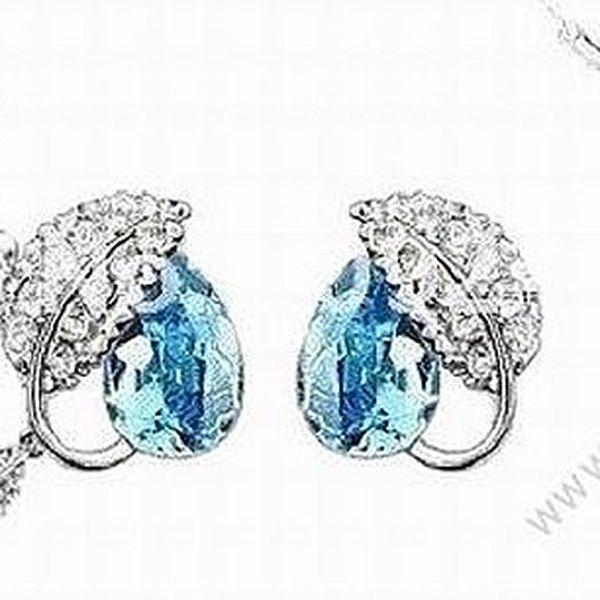 Krásný set ve tvaru lístku osázený Crystaly Swarovski Elements - luxusní sada šperků pro sváteční příležitosti !