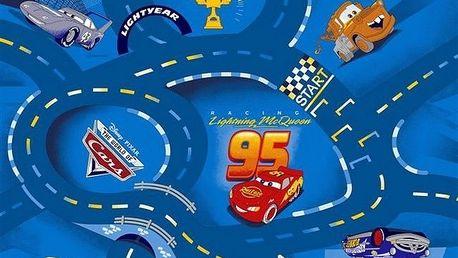 Dětský koberec Cars World of cars, modrá, 95 x 133 cm