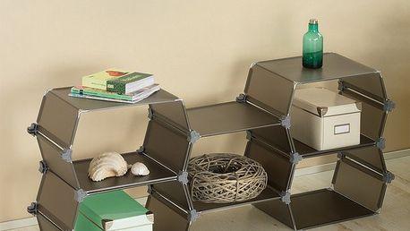 Dekorativní a praktická skládací polička - šedá - díky jednoduchému mechanismu snadno spojíte dohromady