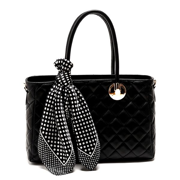 Dámská černá kabelka s šátkem Carla Ferreri