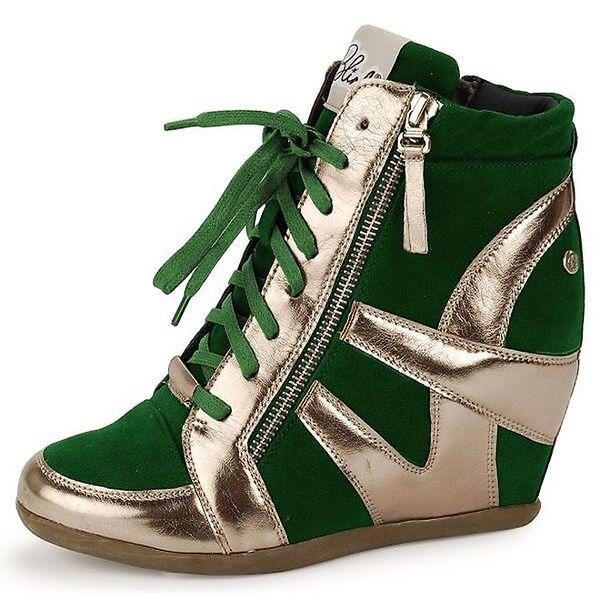 Dámské zeleno-zlaté futuristické kotníčkové boty Blink