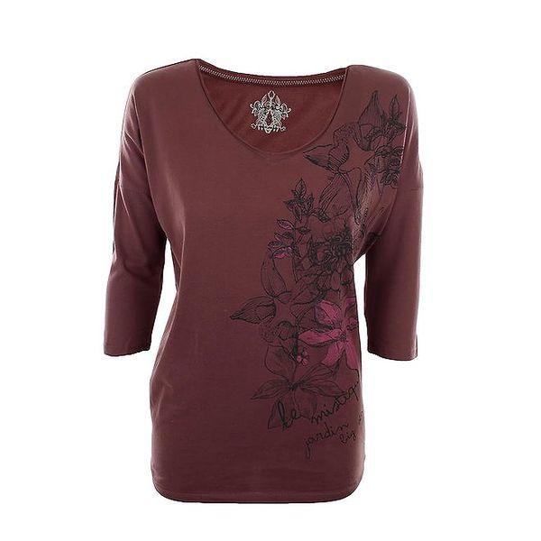 Dámské vínové tričko s květinovým potiskem Big Star