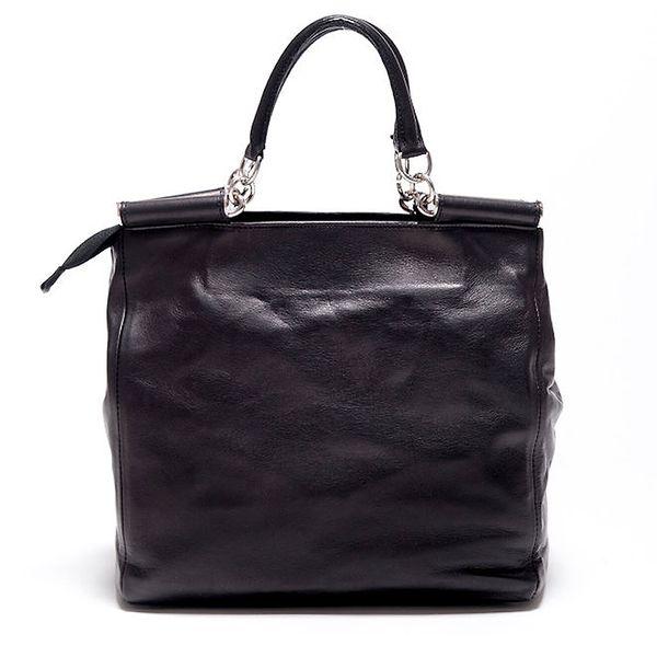 Dámská černá retro kabelka s popruhem Carla Ferreri