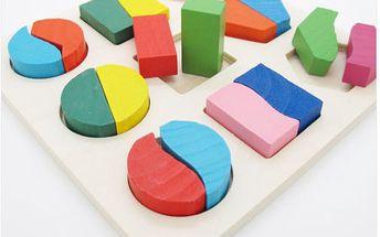 Barevná dřevěná skládačka pro děti a poštovné ZDARMA! - 6607415