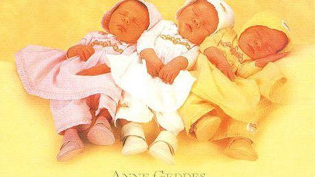 Pohlednice s motivem spících holčiček v pyžámkách, Anne Geddes.
