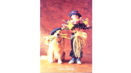 Pohlednice Anne Geddes holka s kytkama a psem