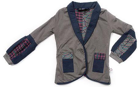 Khaki sako s barevnými motivy