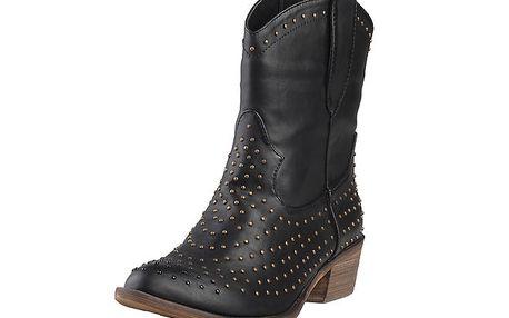 Dámské černé kovbojské boty s cvoky Ana Lublin