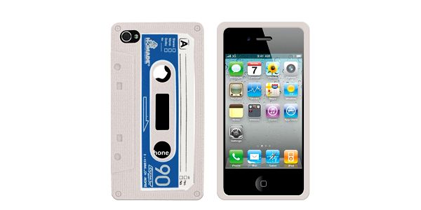 Retro obal na iPhone 4/4S Cassette, bílý