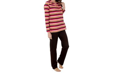 Dámské hnědo-růžové pruhované pyžamo Admas - kalhoty a tričko
