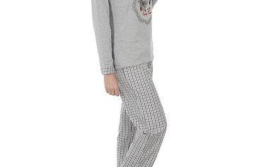 Dámské světle šedé pyžamo Admas s potiskem - kalhoty a tričko