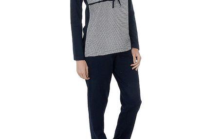 Dámské tmavě modré pruhované pyžamo Admas - kalhoty a tričko