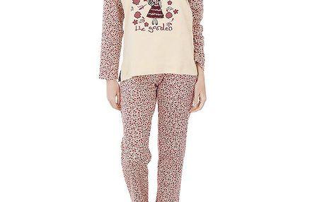 Dámské vínovo-růžové pyžamo Admas s potiskem - kalhoty a tričko
