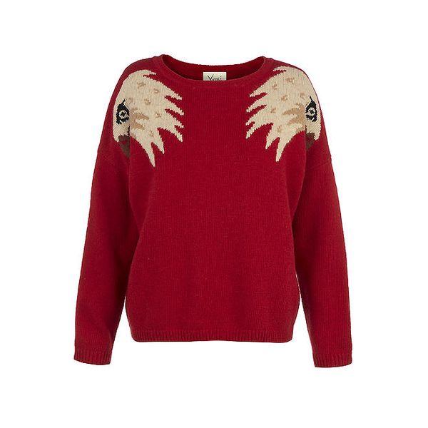 Dámský červený svetr s orlími hlavami Yumi