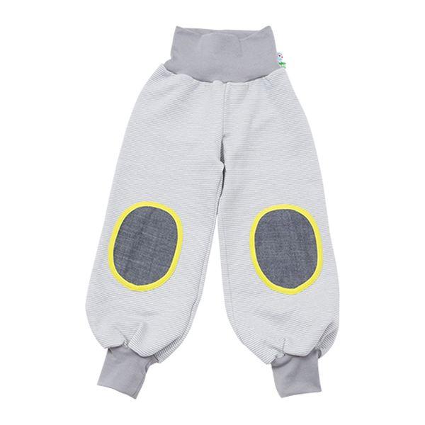 Šedé tepláčky se žlutou záplatou - větší děti