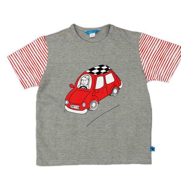 Šedé tričko s autem - červené proužky