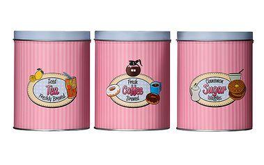3 plechové dózy na kávu, čaj a cukr