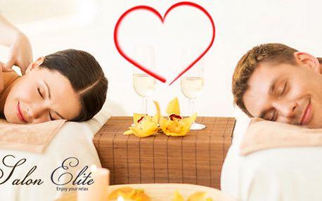 Valentýnská partnerská královská masáž a sklenička sektu s čerstvými jahodami