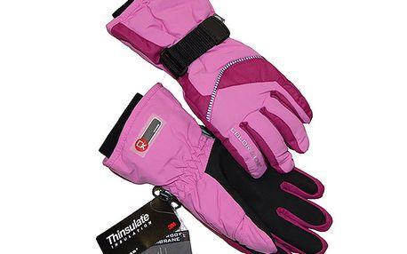 Růžové rukavice na lyže