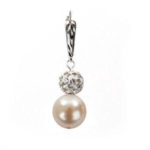 Dámské náušnice s lososově růžovou perlou Swarovski a stříbrným zapínáním Royal Adamas