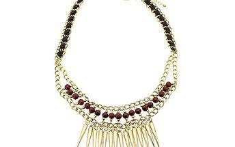 Zlatý náhrdelník s hnědými korálky od Solv & Art
