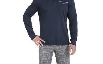 Pánské pyžamo - modré triko a kostkované kalhoty QBO