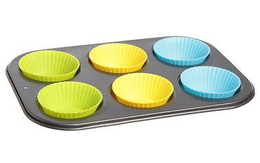 Pečící plech na muffiny se silikonovými košíčky